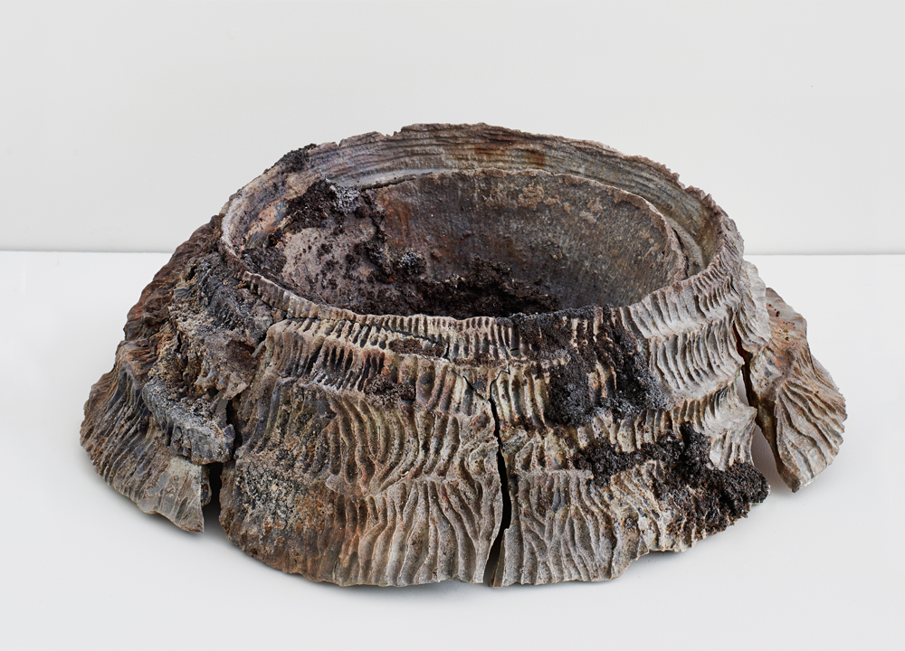 Fragmented Crater , 2016, Wood-fired stoneware and Icelandic volcano ash, 6 ½ x 18 ½ x 9 inches