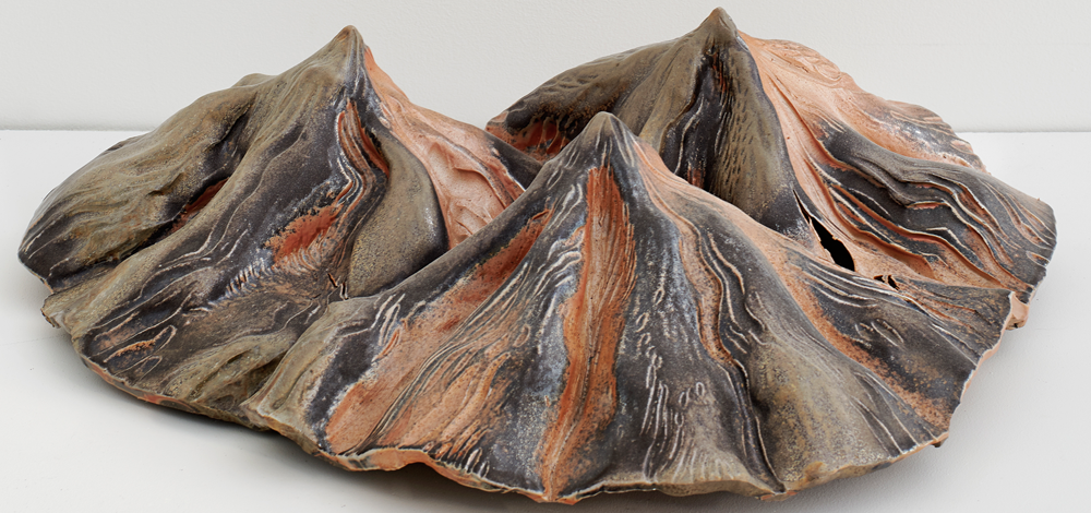 Three Peaks , 2016, Wood-fired Porcelain, 5 x 20 x 17 inches