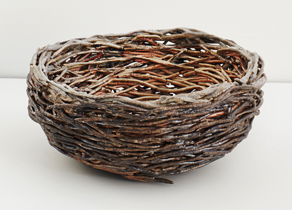 Nest , 2016, Wood-fired stoneware and porcelain, 4 x 9 x 9 inches
