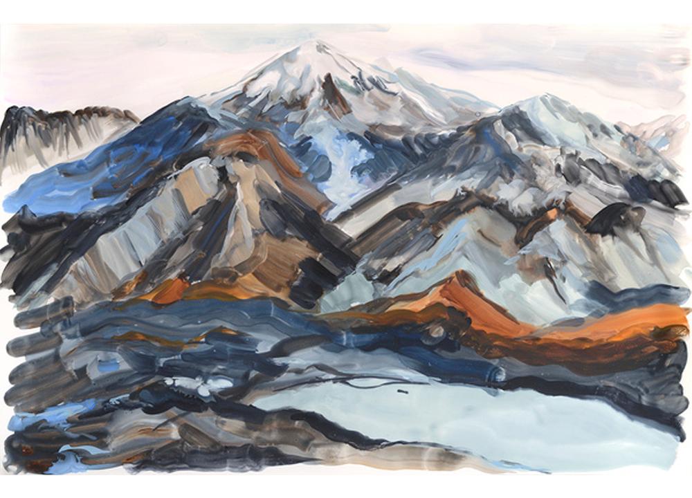 Mountain Glacier , 2015, Watercolour and gouache on polypropylene, 23 x 35 inches
