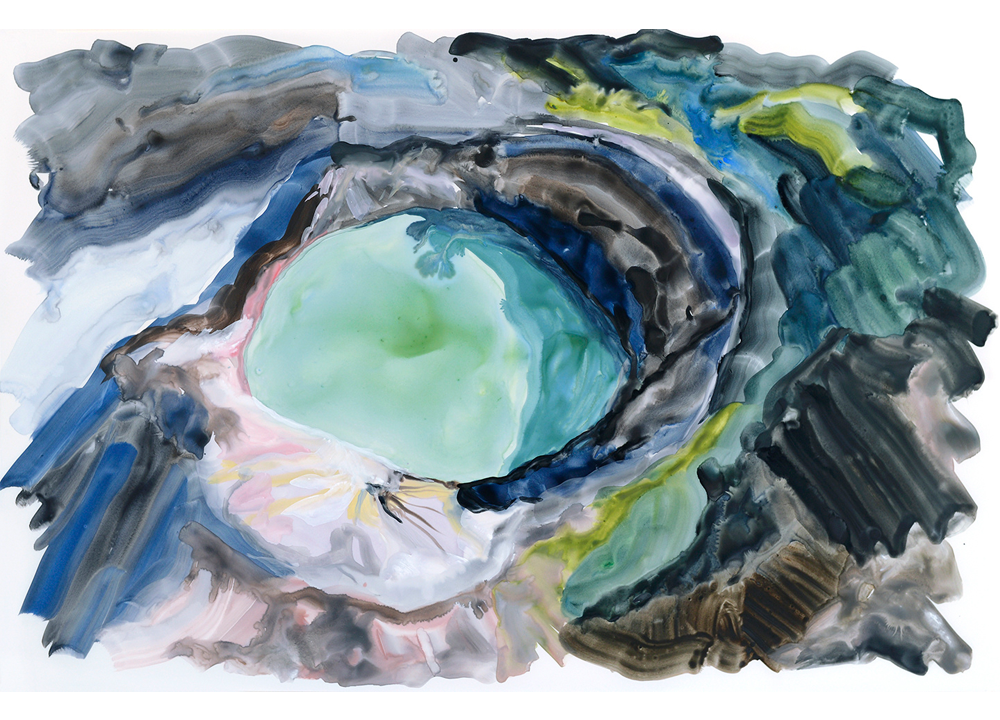 Acid Lake , 2015, Watercolour and gouache on polypropylene, 23 x 35 inches