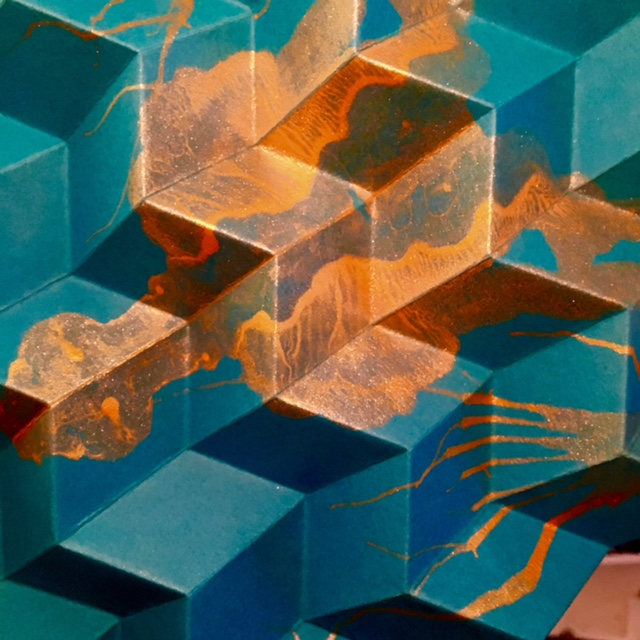 "The Sponge   2015, hand-folded acid free paper, filament line, gravity,  32 x 32 x 54"""