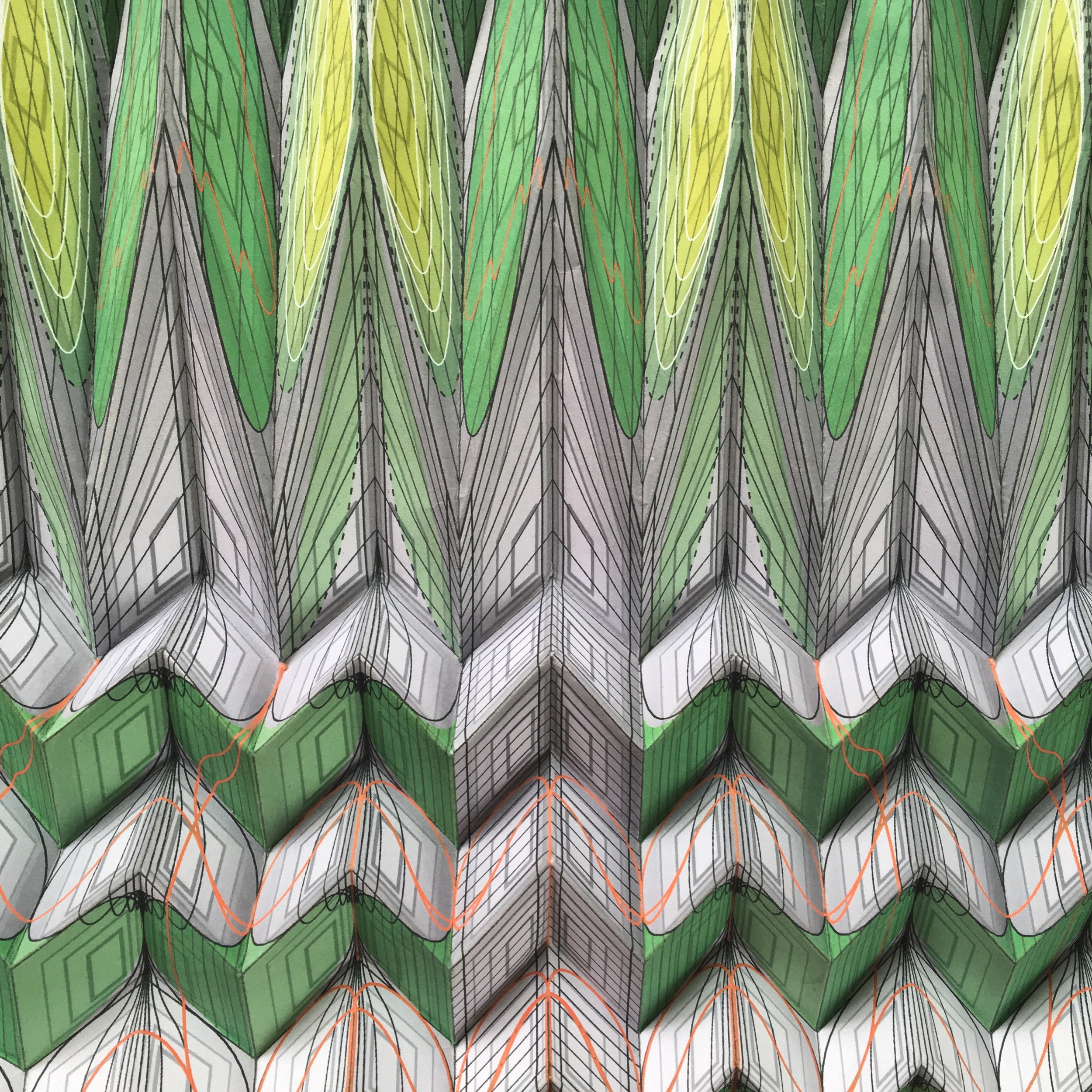 "The Lamprey   2015, hand-folded acid free paper, filament line, gravity,  114 x 36 x 36"""
