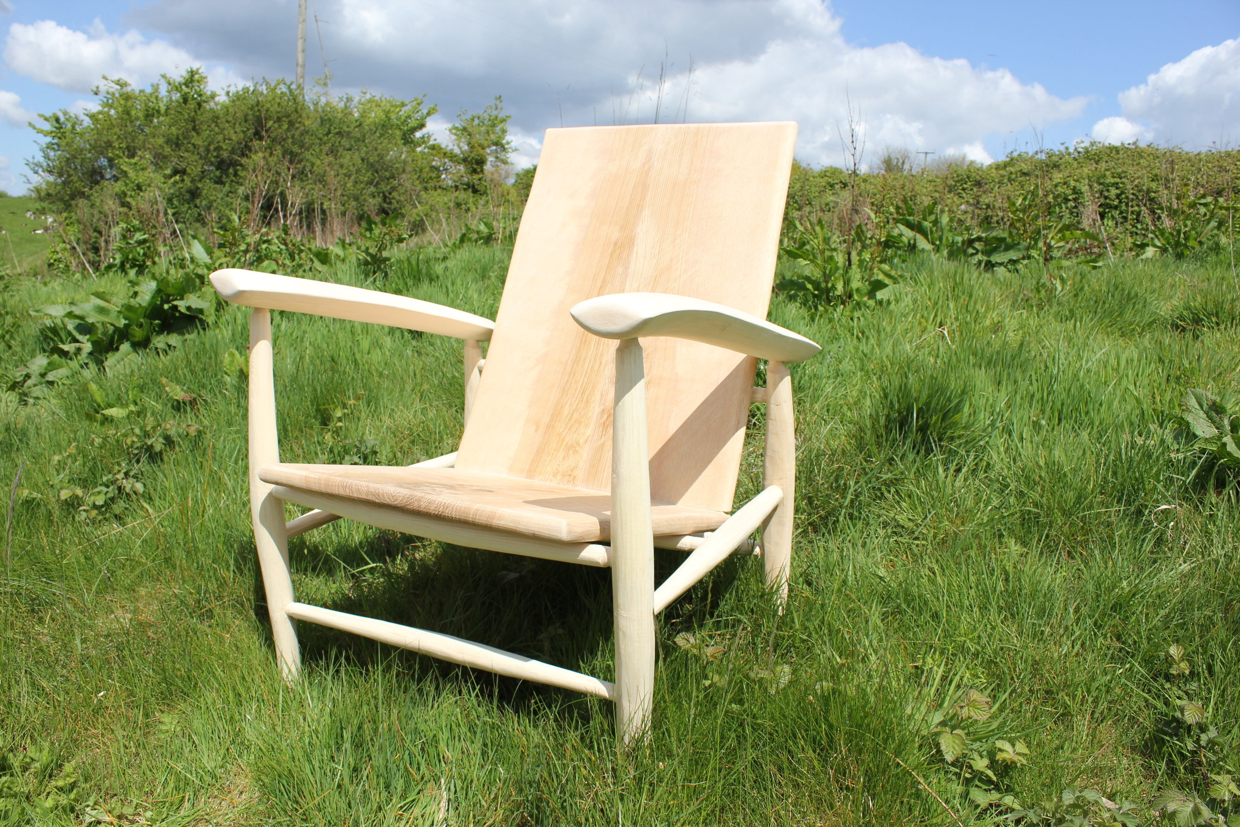 "Gareth's stunning ash arm chair with olive ash seat and back. The arms are particularly pleasing on this piece, but the whole thing is so beautifully proportioned, and ""right""."