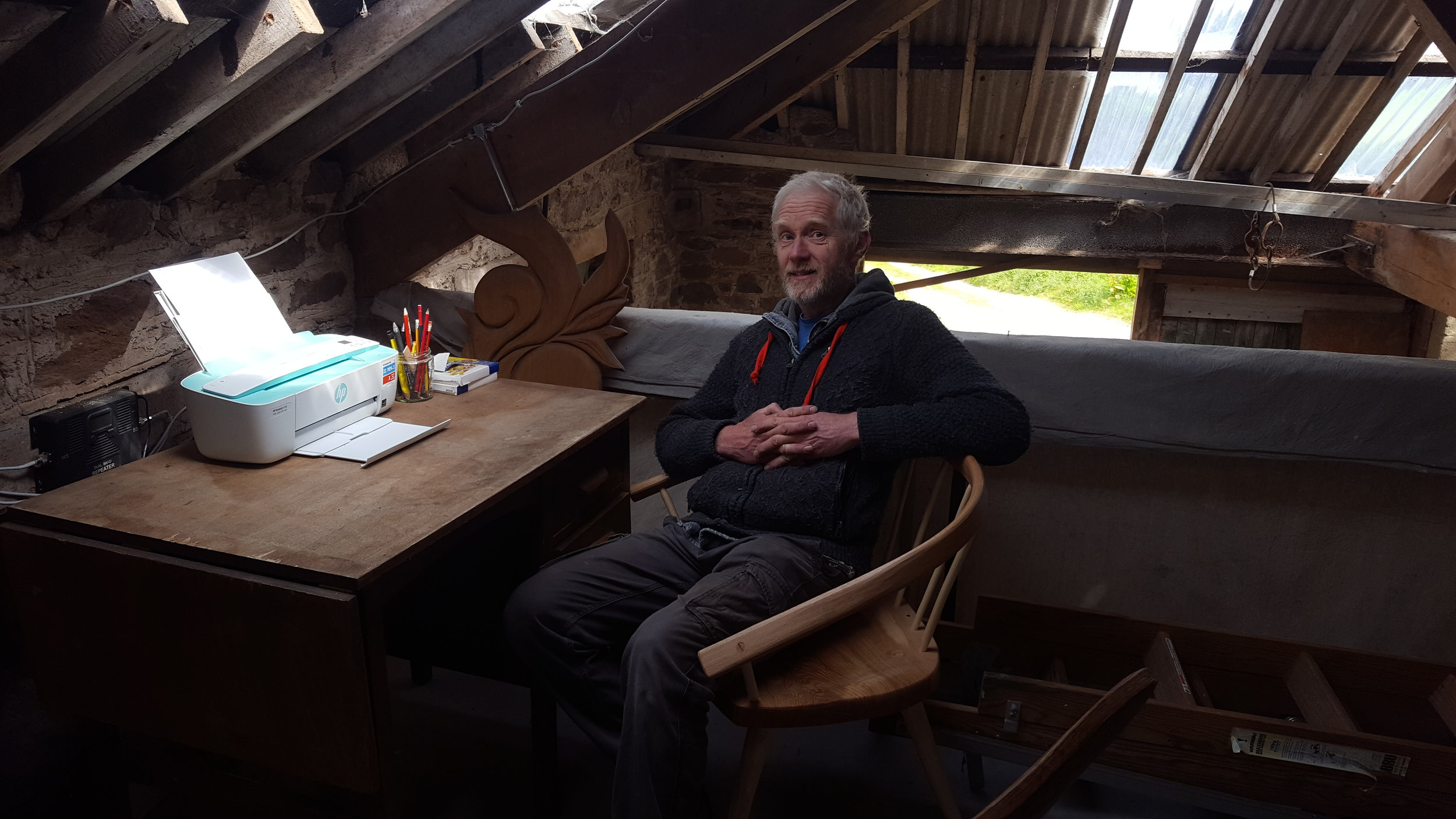 The new office, on a mezzanine above the Horse Engine room at the Devon Green Wood Centre.