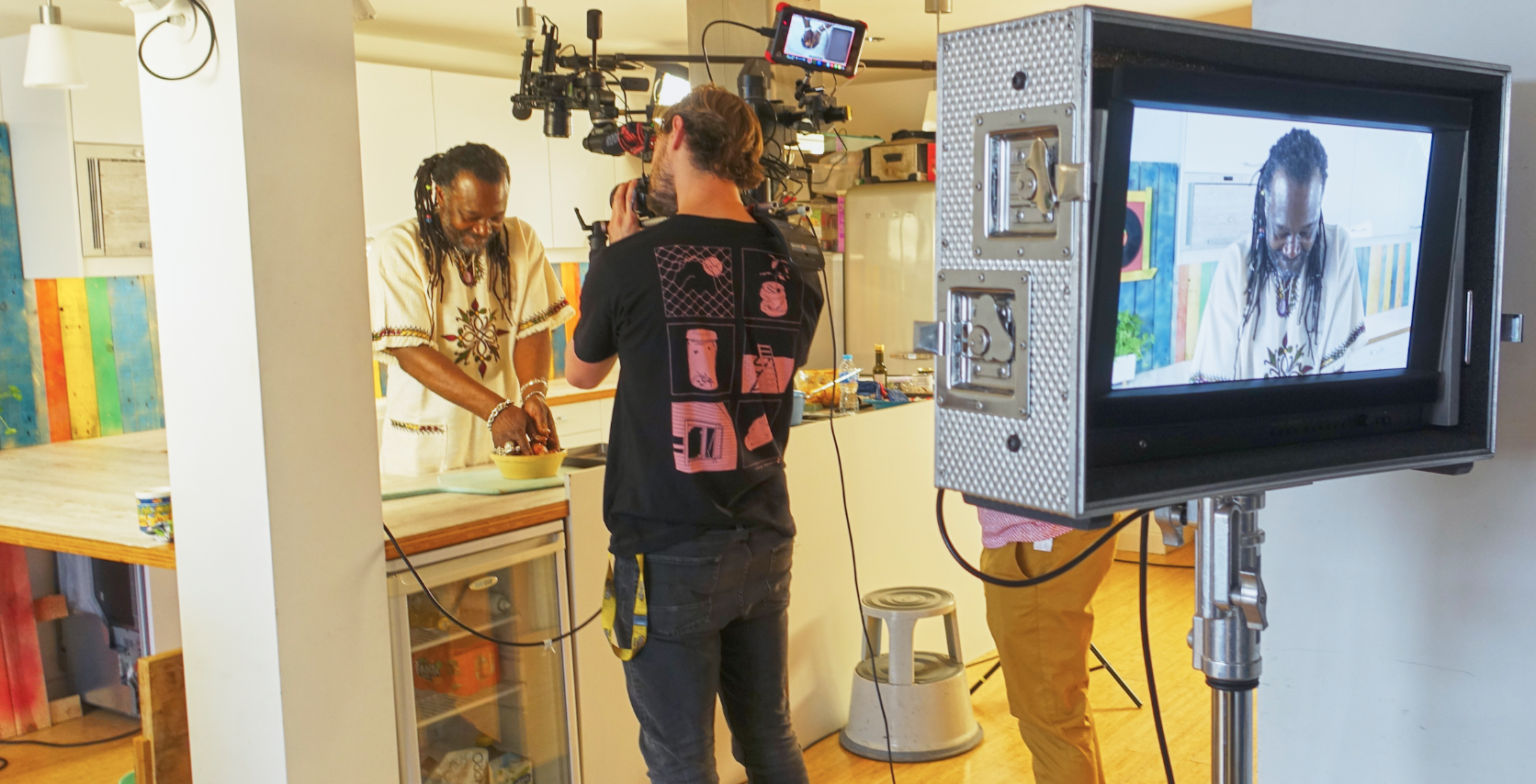 Behind the scenes of the Levi Roots set