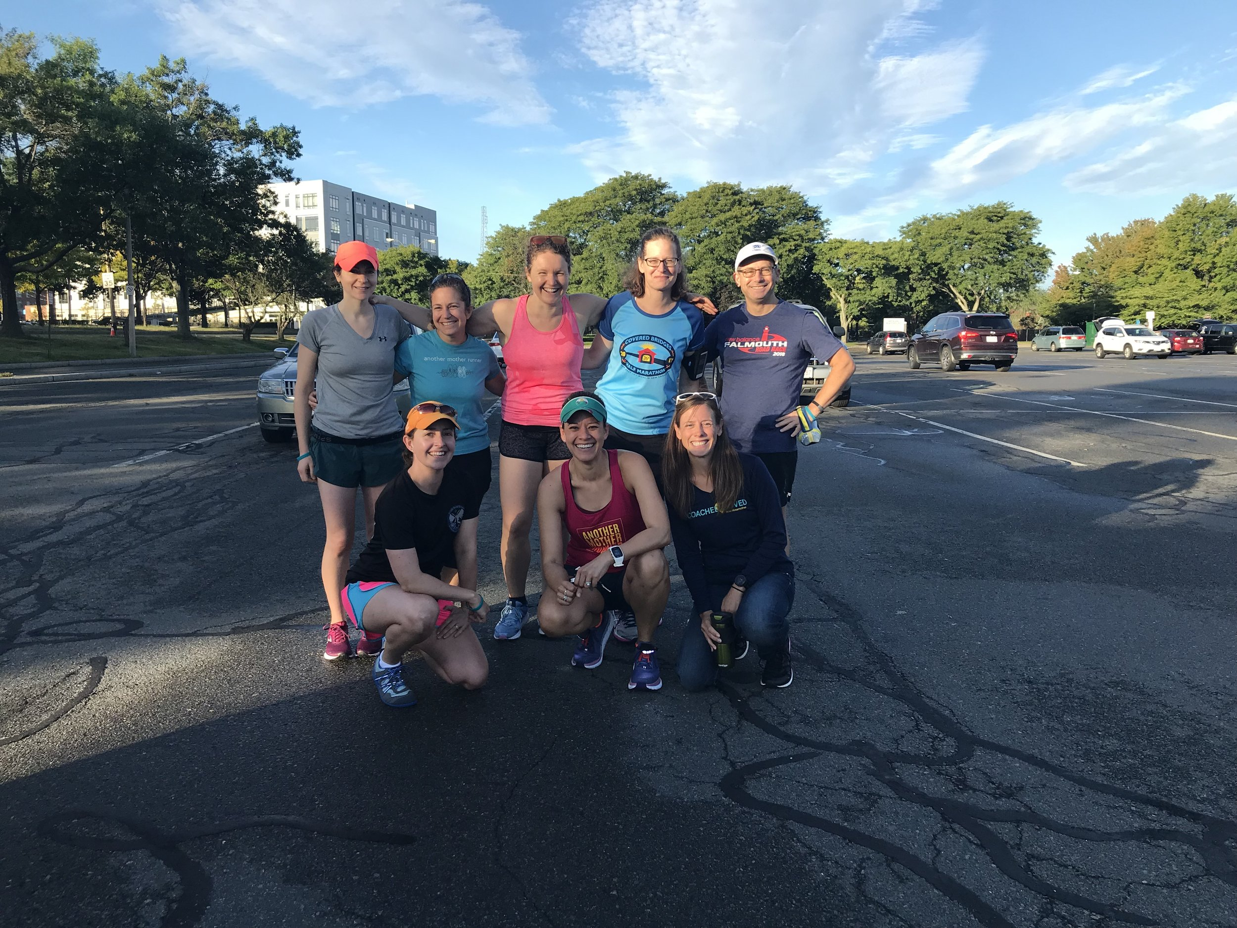 The Motherlode of Miles gang gathers on the Charles! Mother runners from left to right: Debbie, Kerri, Robin, me, Carrie, Elizabeth, Lisa,and father runner Michael.