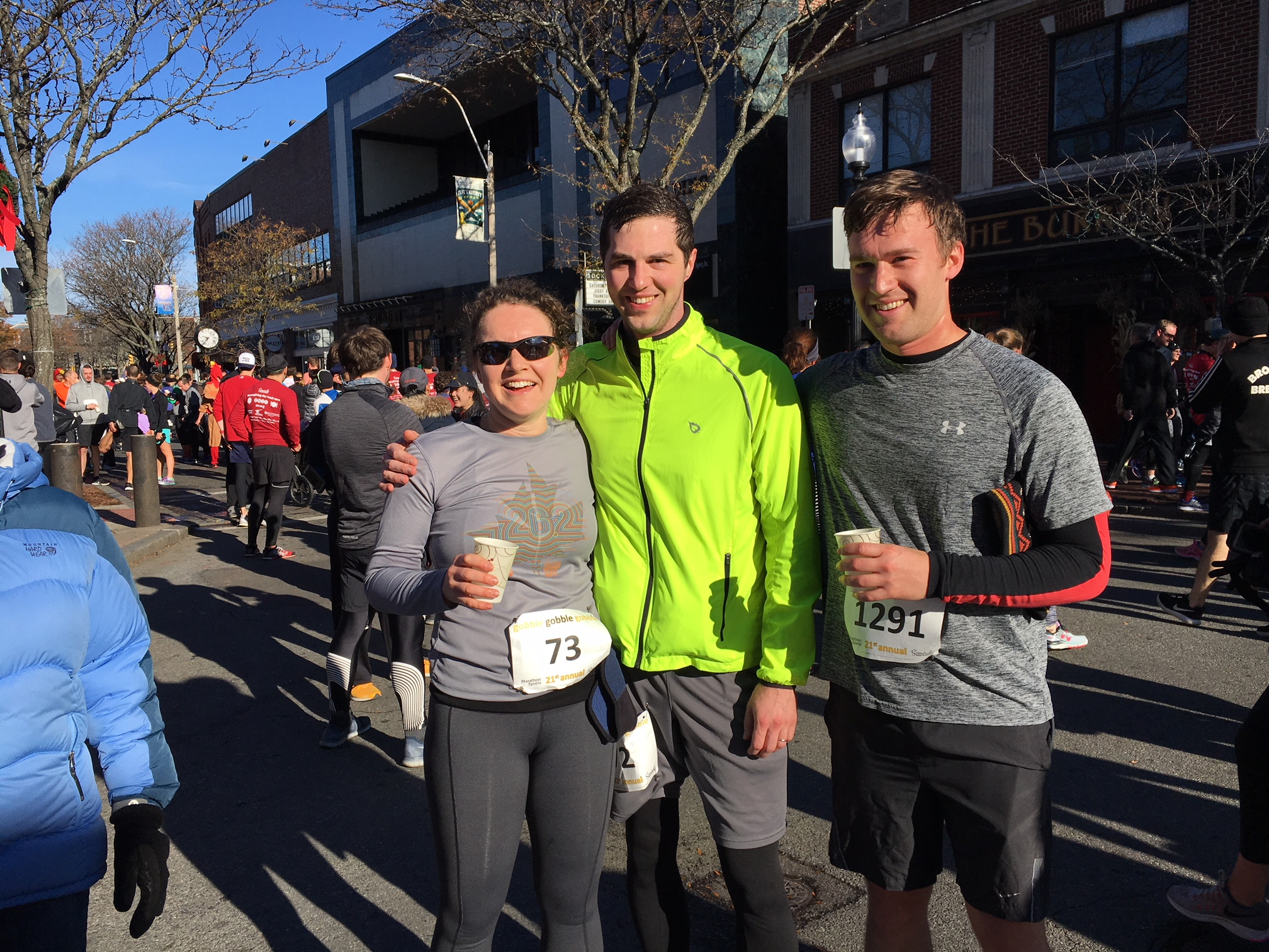Me, my husband Tristan, and my brother Henry at the finish line of the 2017 Gobble, Gobble, Gobble Thanksgiving 4 mile race in Somerville. Henry ran with me and I set a new PR of 34:40, my first PR on this course in 10 years.
