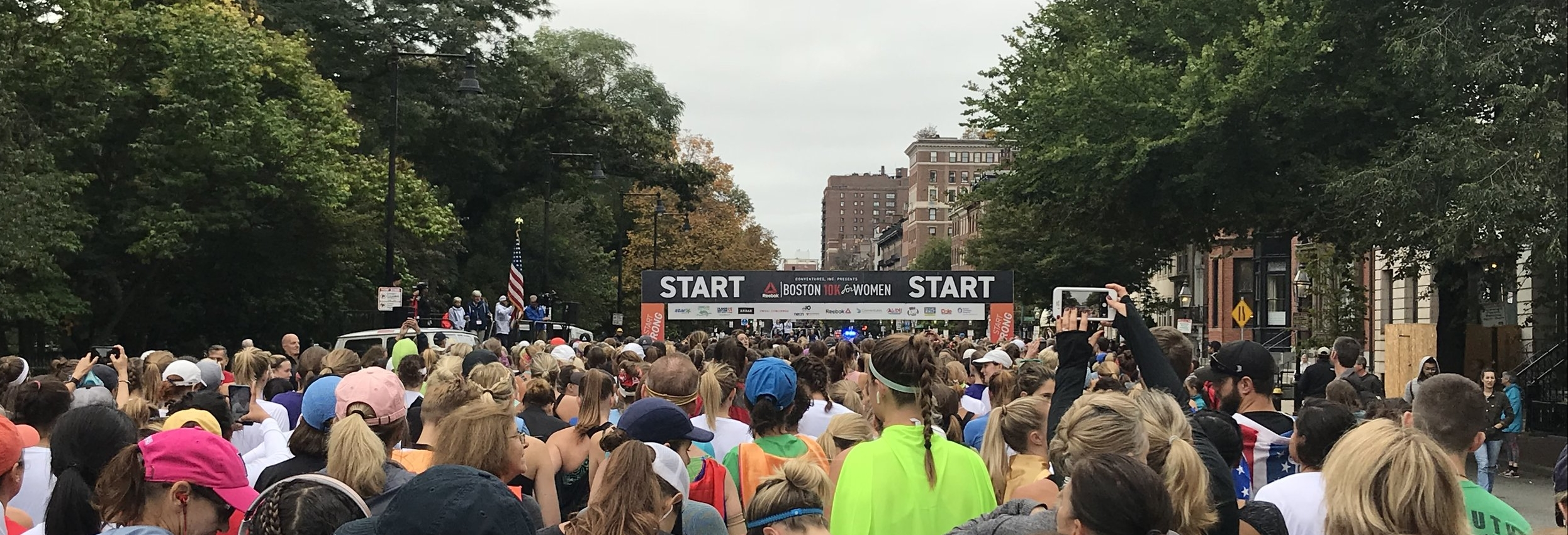 Waiting for the gun at the start of the Reebok Boston 10K for Women, October 8th, 2018