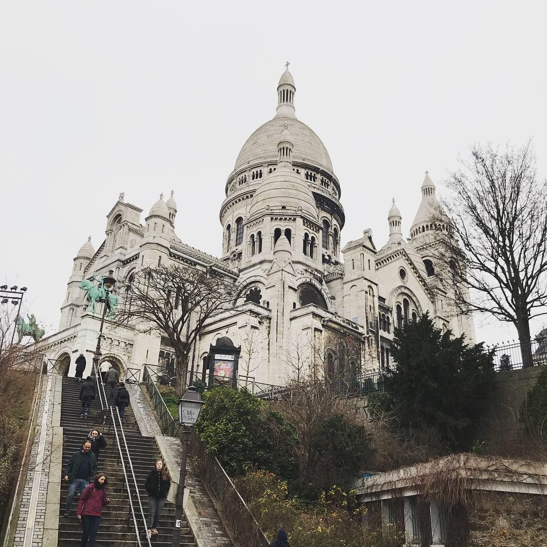 New Year's Day, running up the stairs to Sacre Coeur in Montmartre. I wasn't even the only person doing it (and you're only looking at like the last quarter of the way up, BTW).