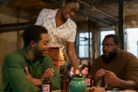 Fonny (Stephan James), Tish (KiKi Layne), and Daniel (Brian Tyree Henry) were all together on the night when Fonny was supposed to have committed this crime. Is this the scene where we get our alibi all sorted out? It is not.