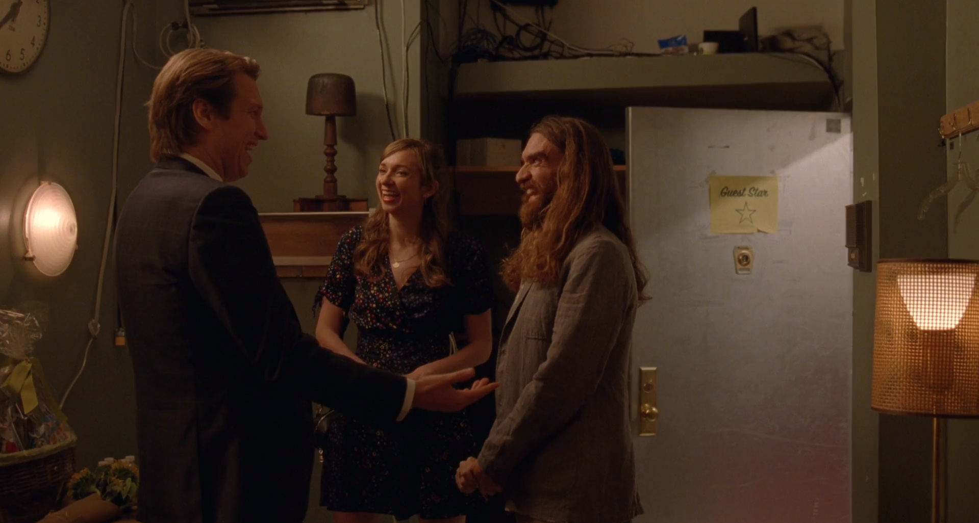 As ever, ex-wife Jess (Lauren Lapkus) and guy-she-left-Pete-for Lief (George Basil) show up in enthusiastic support of Pete's comedy career. What I love about  Crashing  is the way the camera lingers in the green room after Pete leaves. We get just an extra second of Lief and Jess checking out the gift basket, Lief firmly rejecting the Jelly Belly. The show elevates its supporting characters with evocative details, not unnecessary side plots. It really works.