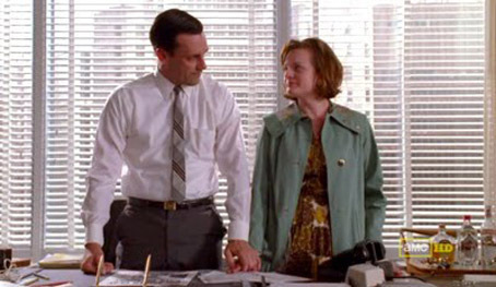 """Jon Hamm and Elisabeth Moss in  Mad Men 's """"The Suitcase,"""" which first aired September 5th, 2010."""