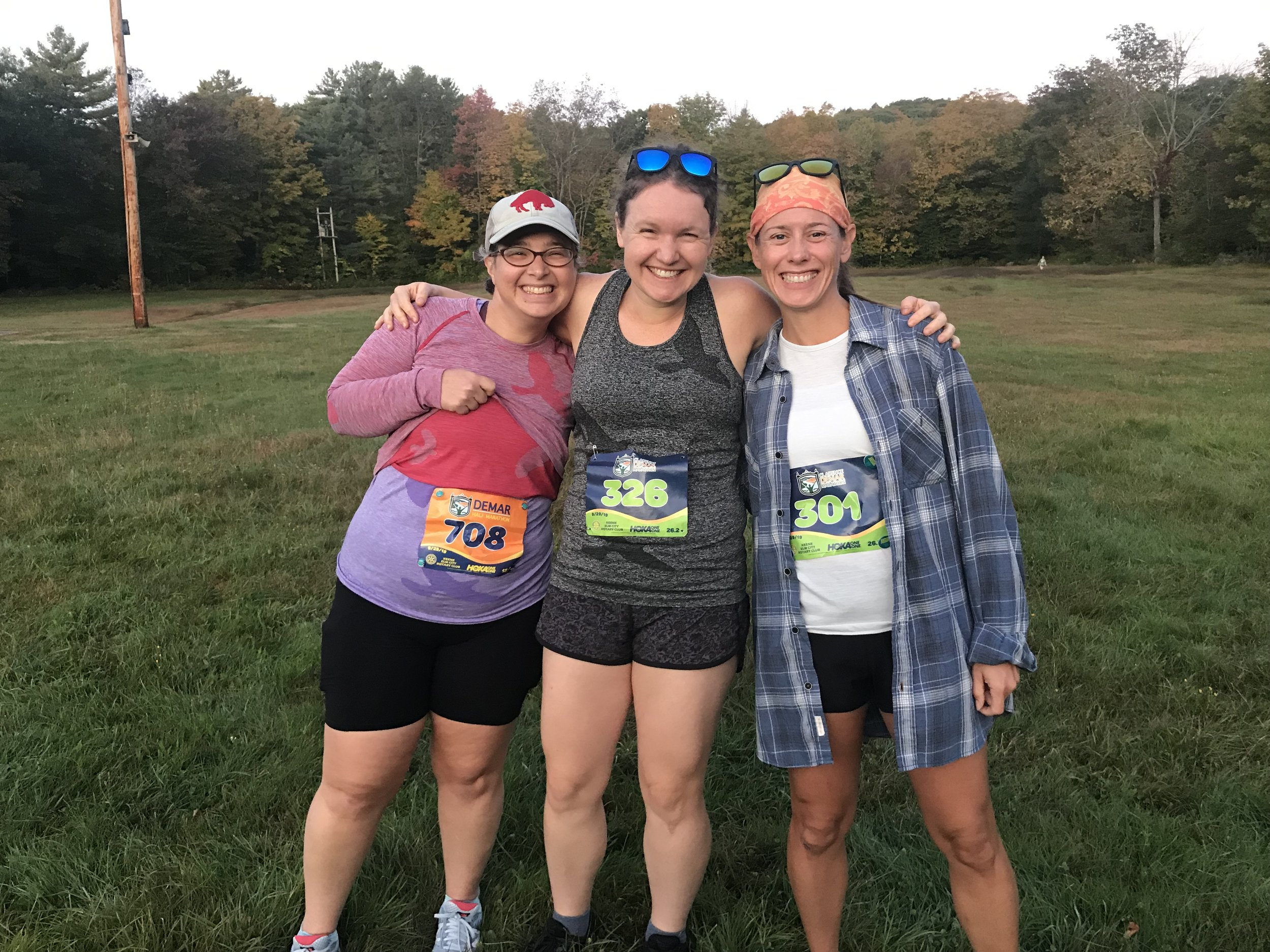 Remember this: happy friends Shara, me, and Lisa, ready for whatever the day would bring. Not pictured was our amazing finish-line cheerer Liz, and I utterly regret not having gotten a decent photo of all four of us.