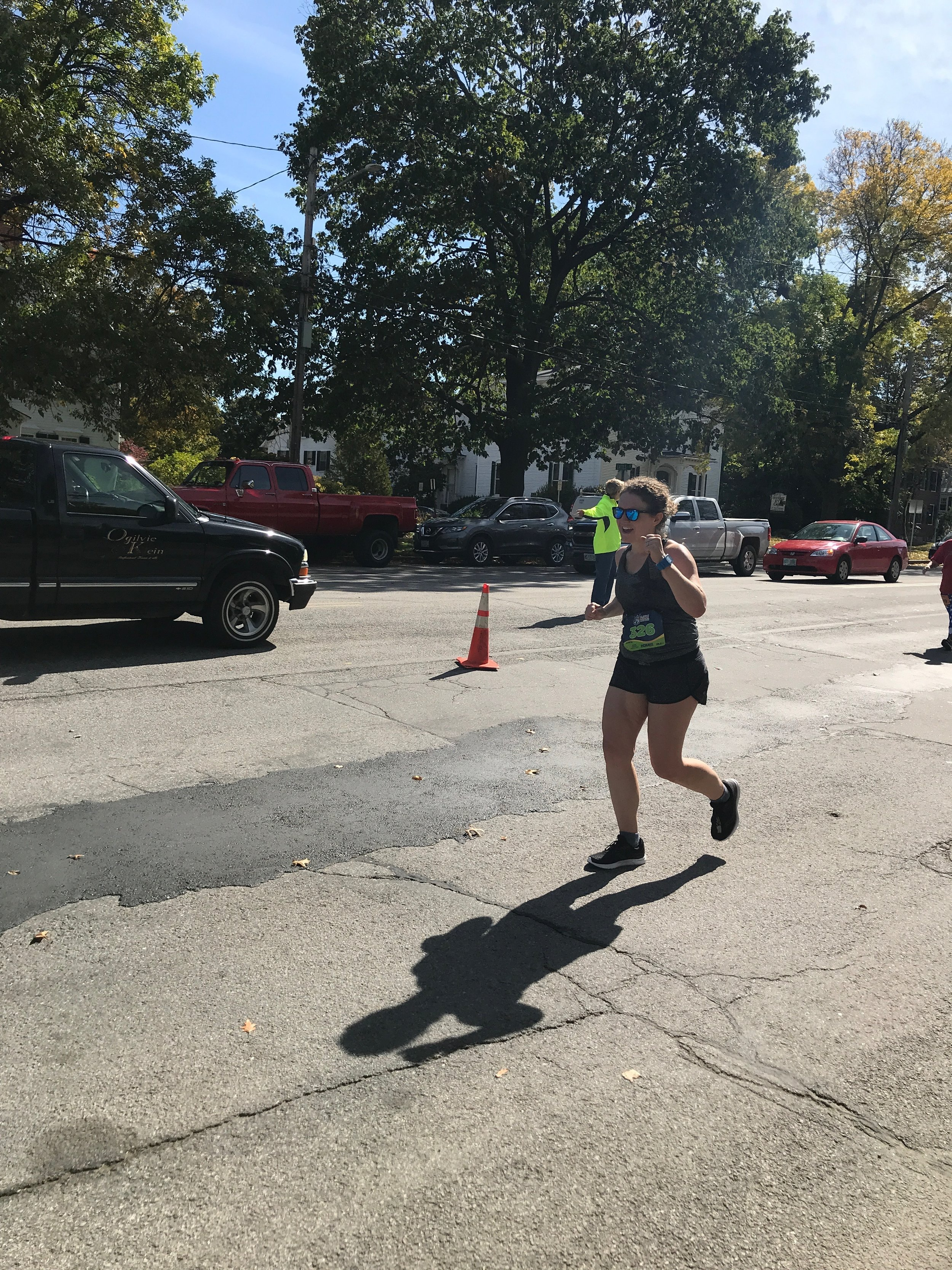 Liz caught me as I was about to turn the corner towards the finish line, and knowing how near it was gave me the strength to muster a fist-pump.