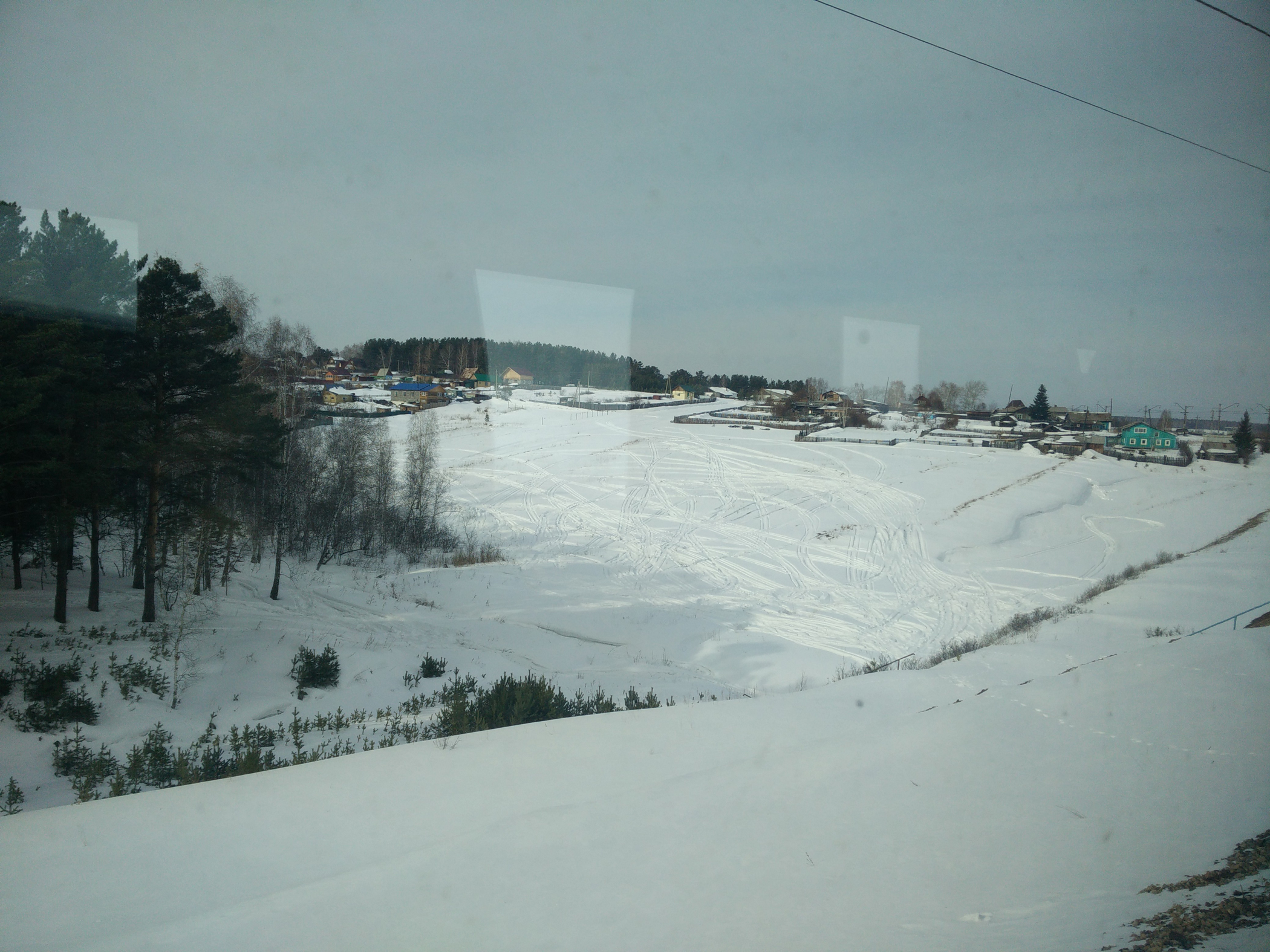 The view from the train passing between Moscow and Irkutsk on the Trans-Siberian Railway.