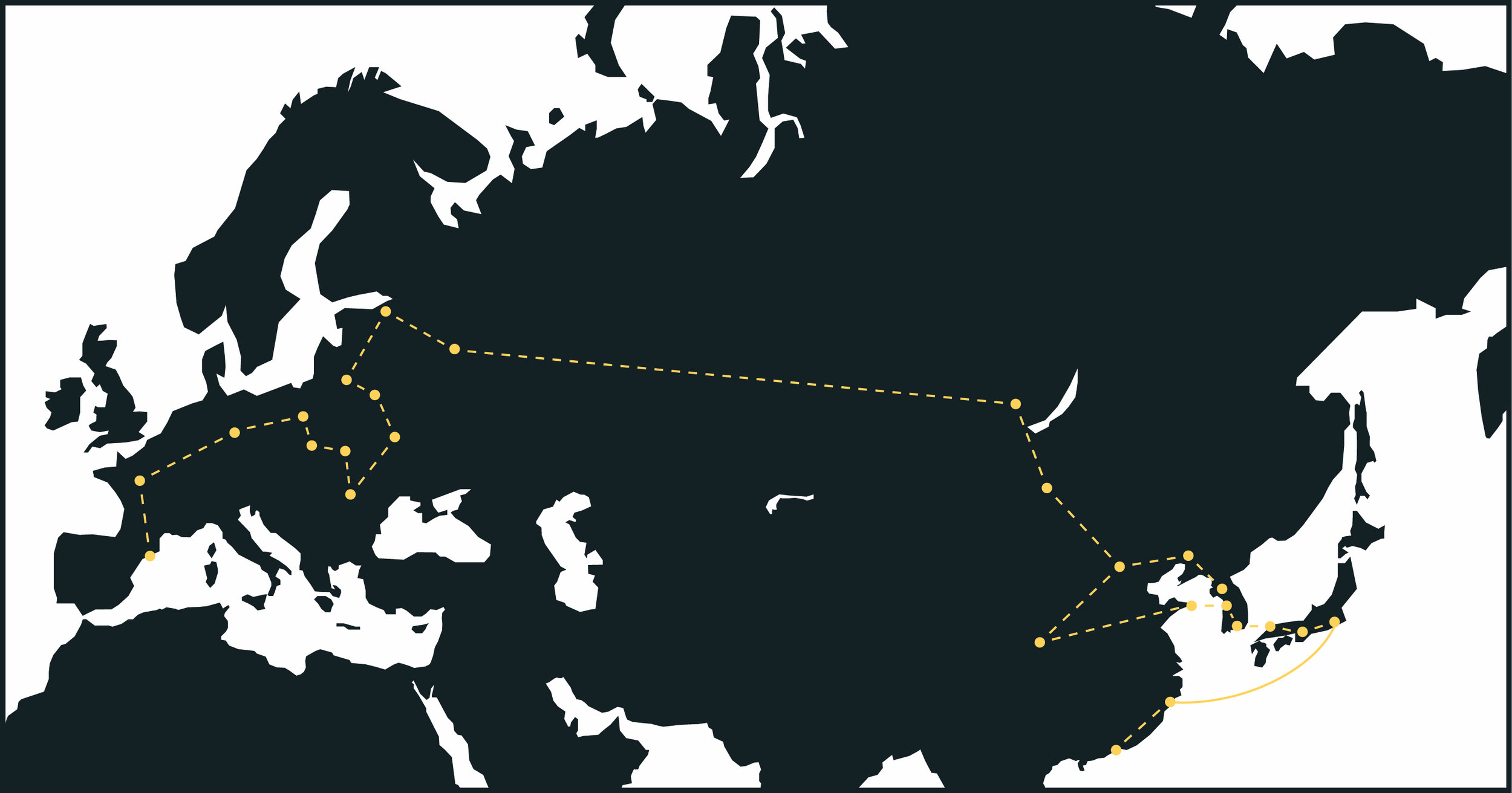 Map showing the extent of my travels between January & May 2017. The solid line indicates a flight taken between Tokyo and Shanghai.