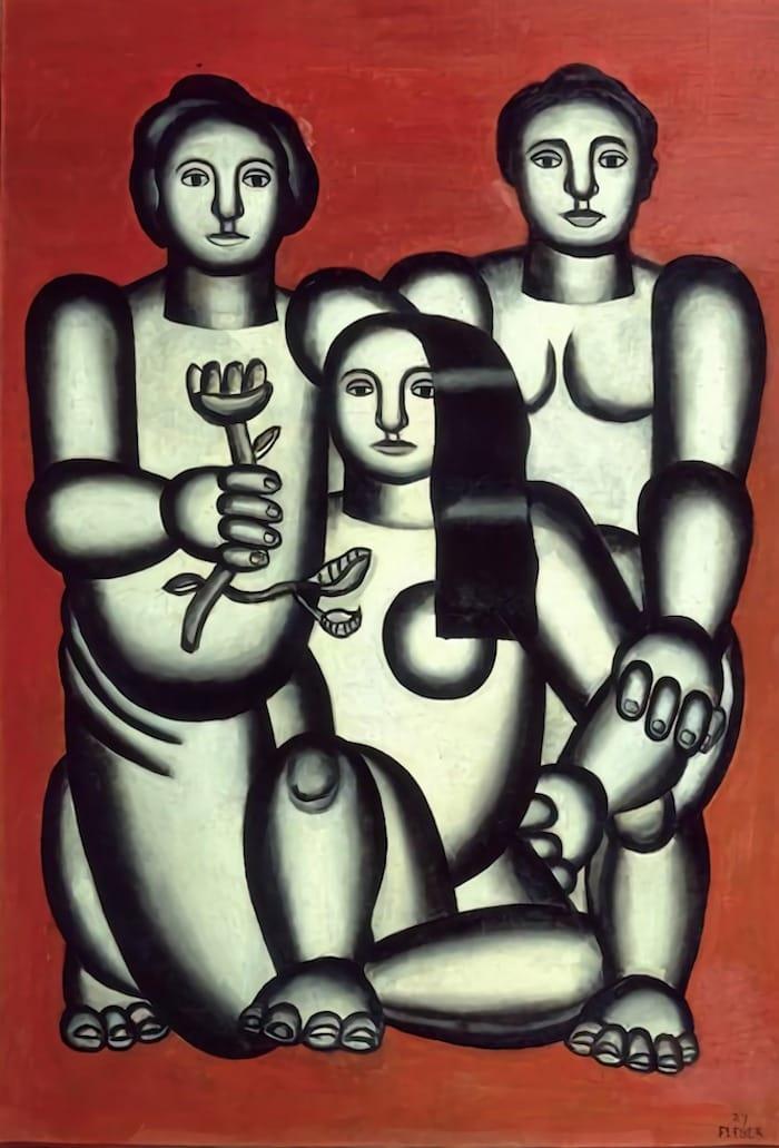FERNAND LÉGER - Trois demoiselles sur fond rouge ou composition aux trois femmes, 1927