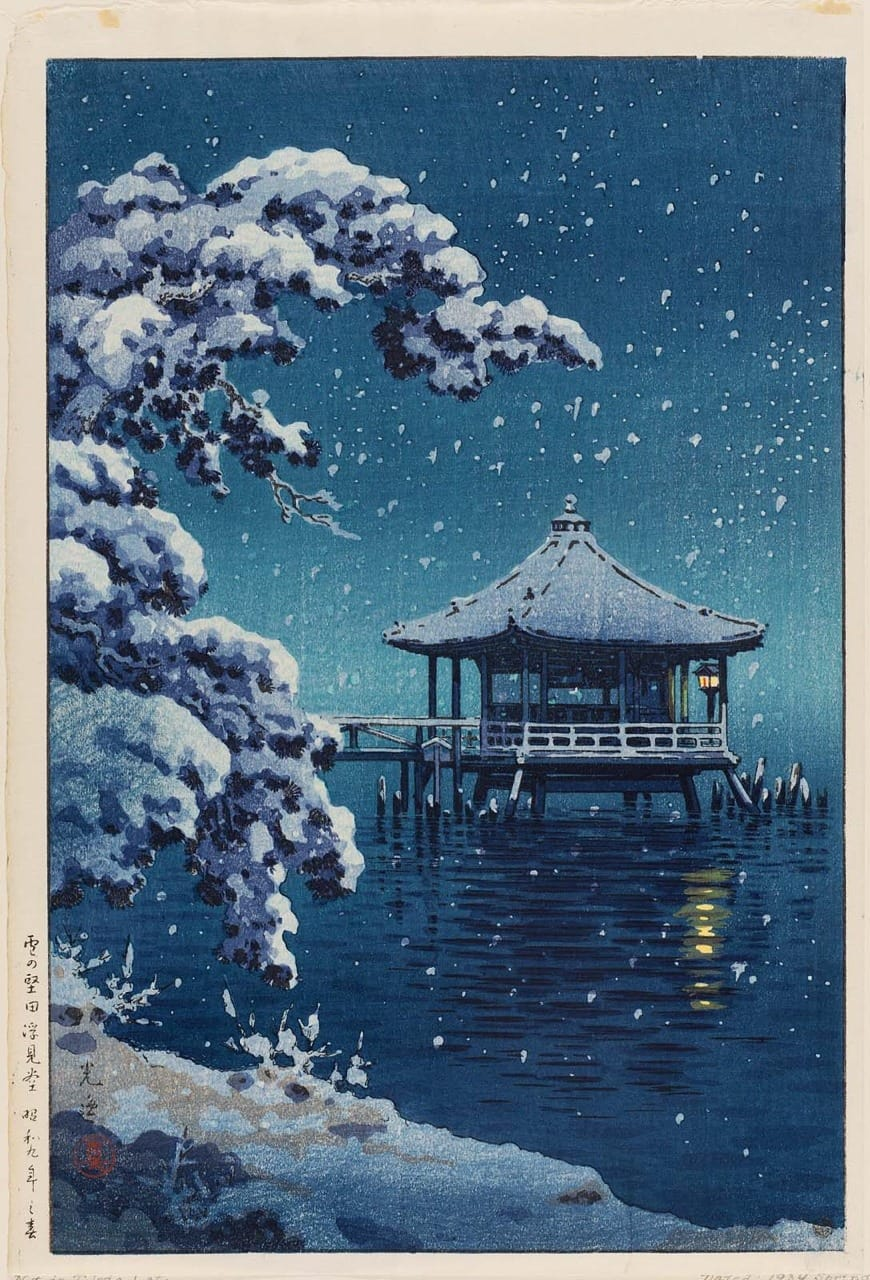 Snow on the Ukimido at Katada, 1934