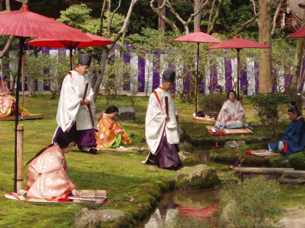 Shinto priests and prayer garden.