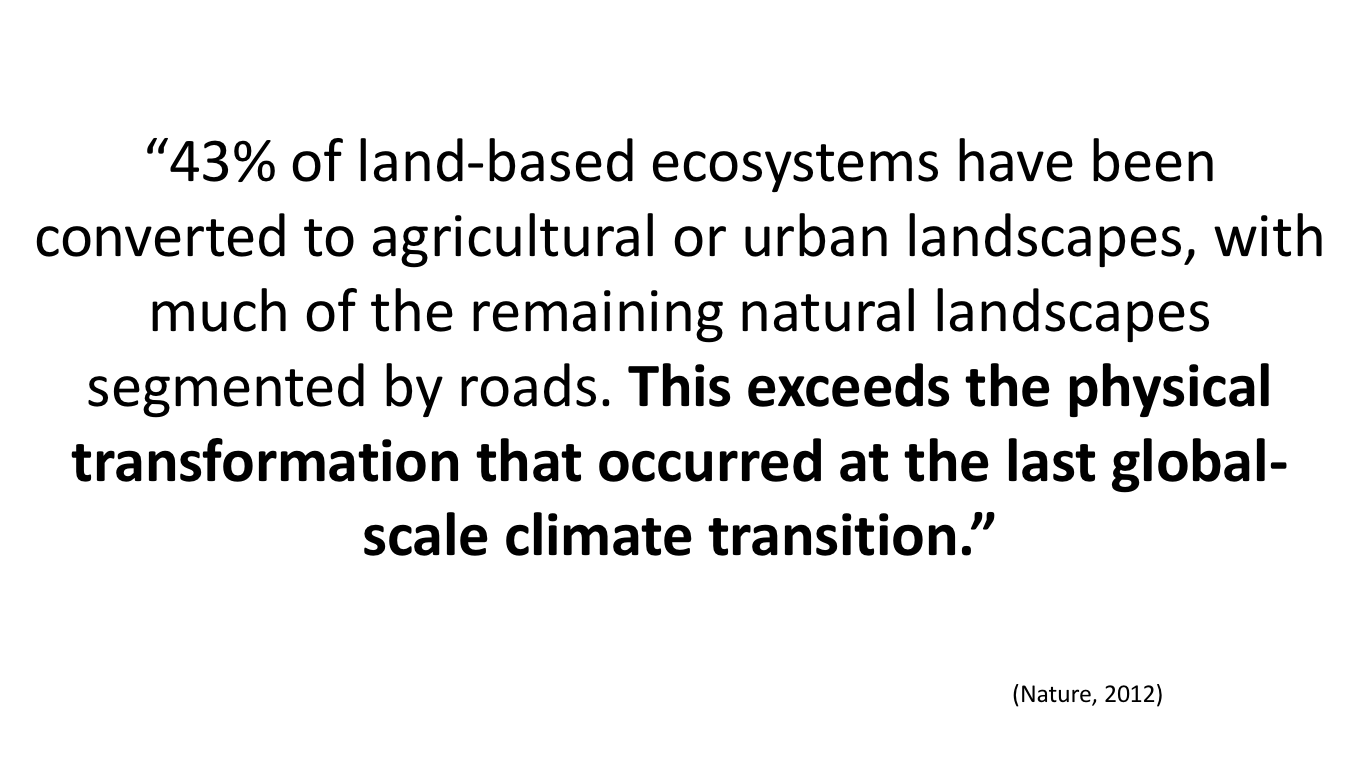 This  2012 study shows that humanity has altered more wild lands than when Earth transitioned out of the last ice age,about 10,000 BC.