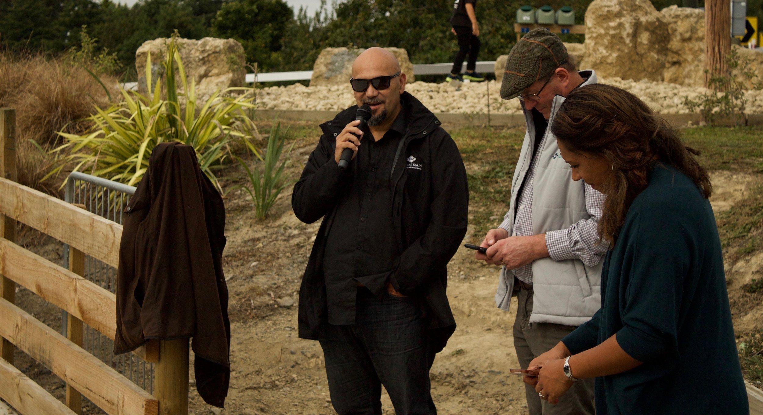 George Mackey (left) and Robert Macbeth (right) speak at the Papa Kāinga opening
