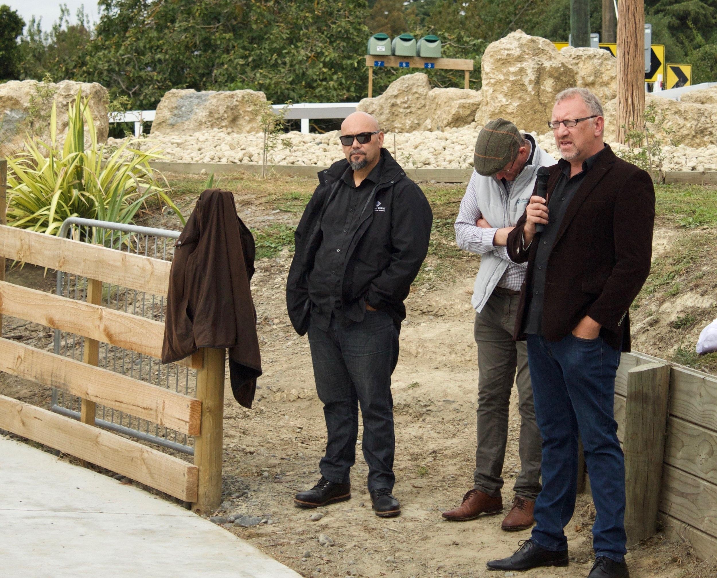 Pāora Sheeran (far right) speaks to the success of Te Piringa Papa Kāinga