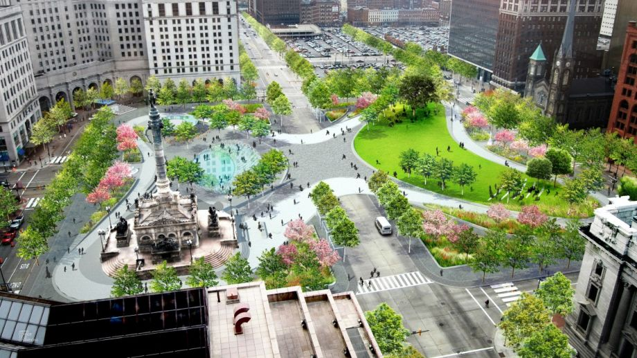 Source:  Next City  A rendering of Cleveland Public Square (Credit: Group Plan Commission)