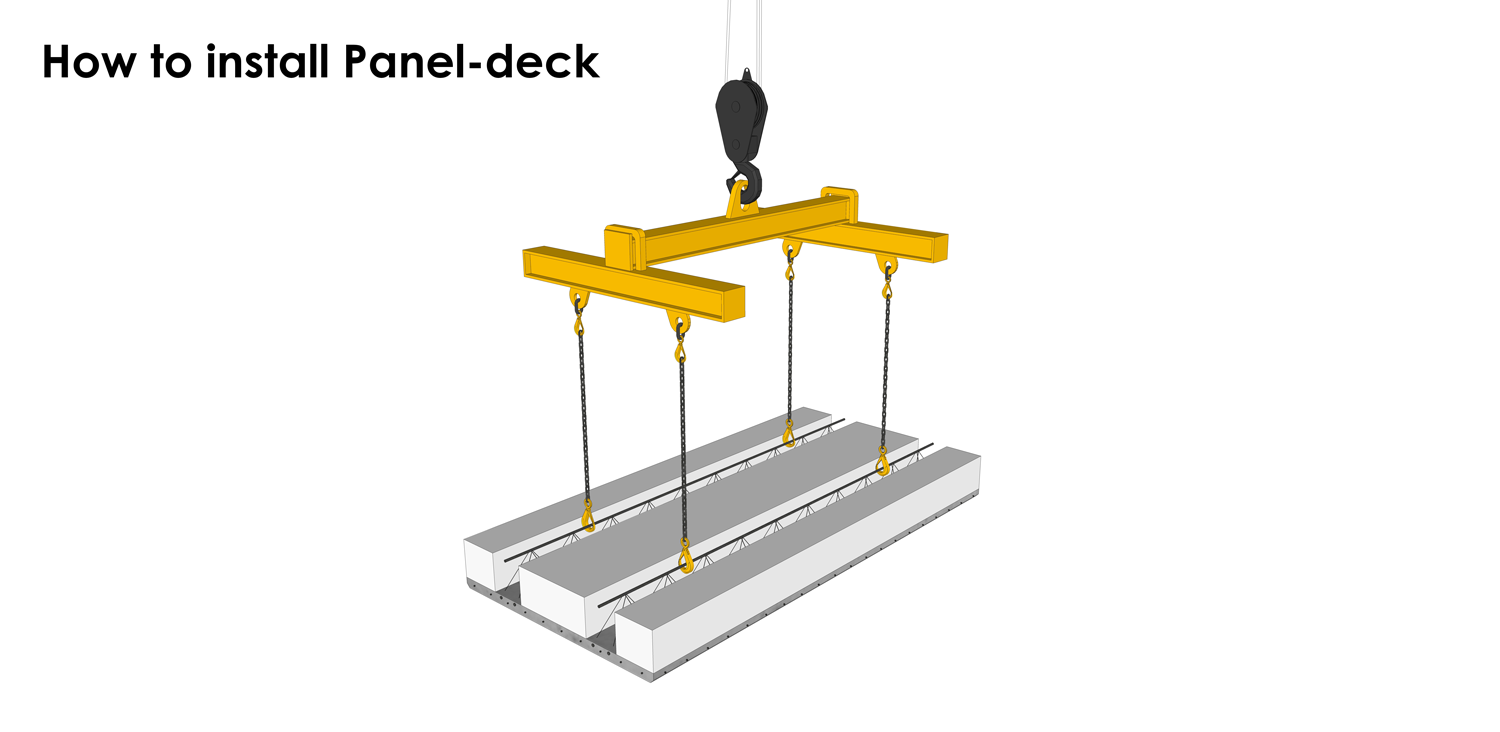 Panel-deck installation requires the use of a crane
