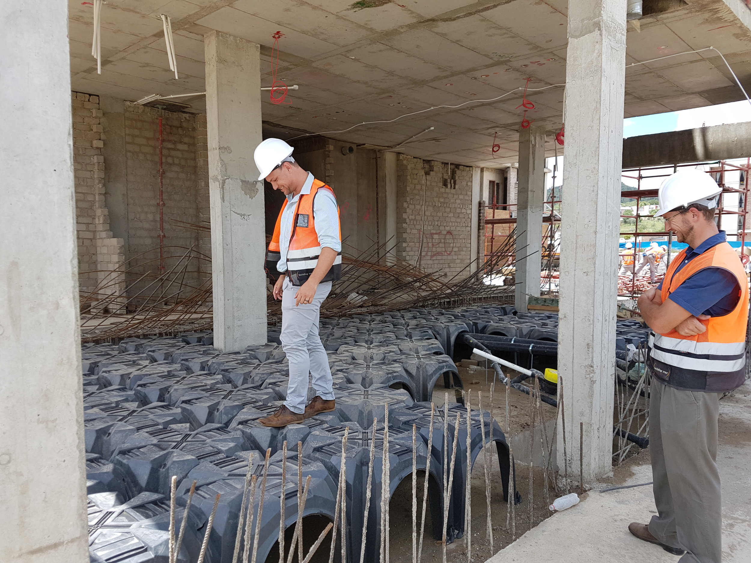 Modulo permanent formwork is fully walkable.