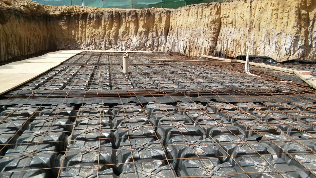 Geoplast foundations installed after installation of services.