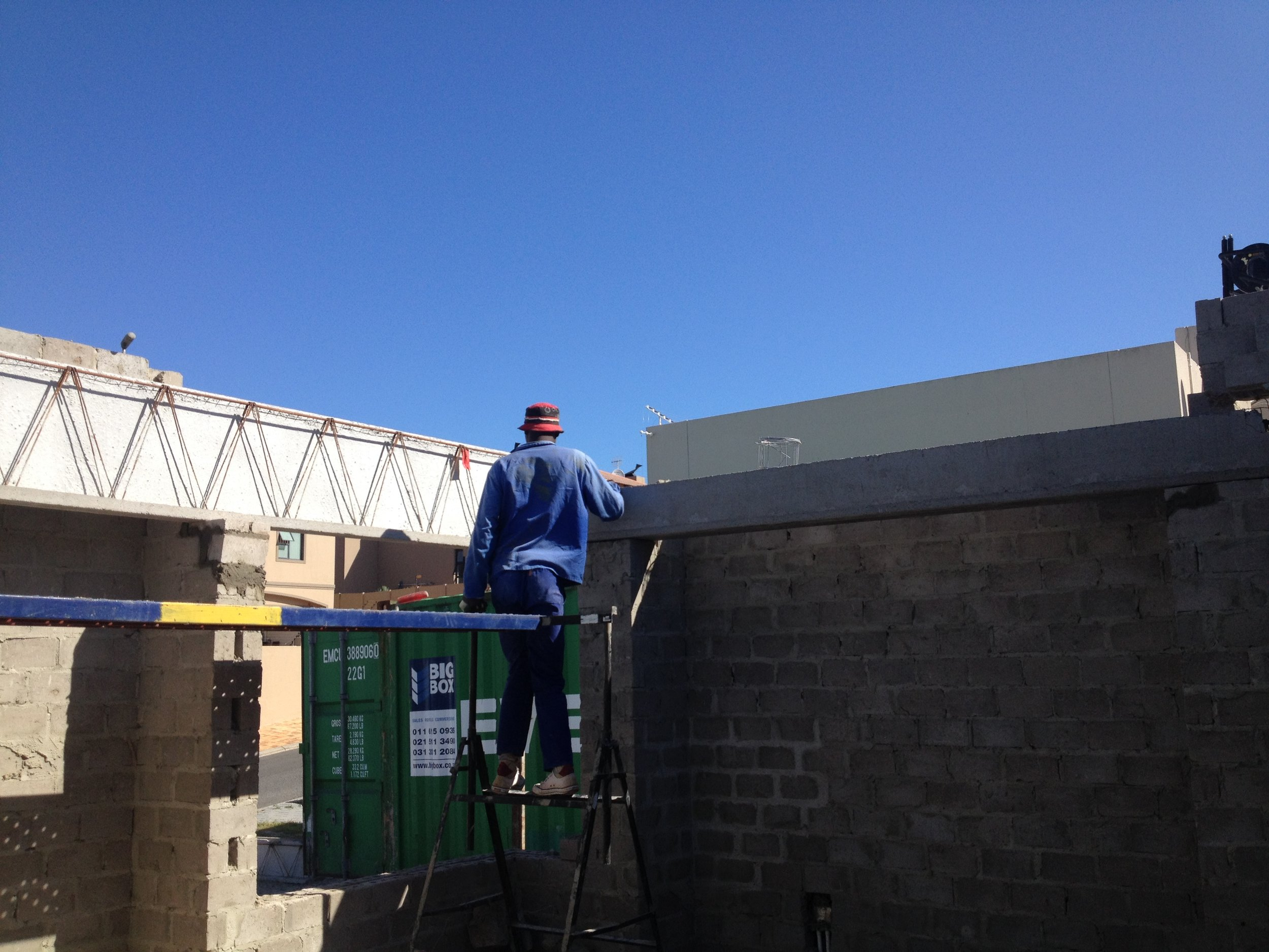 Eaves beam during installation