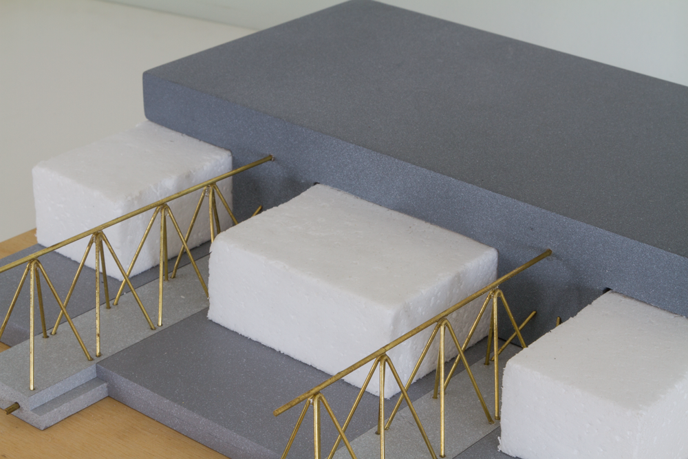 Polystyrene blocks create a void that makes the system one of the lightest on the market.