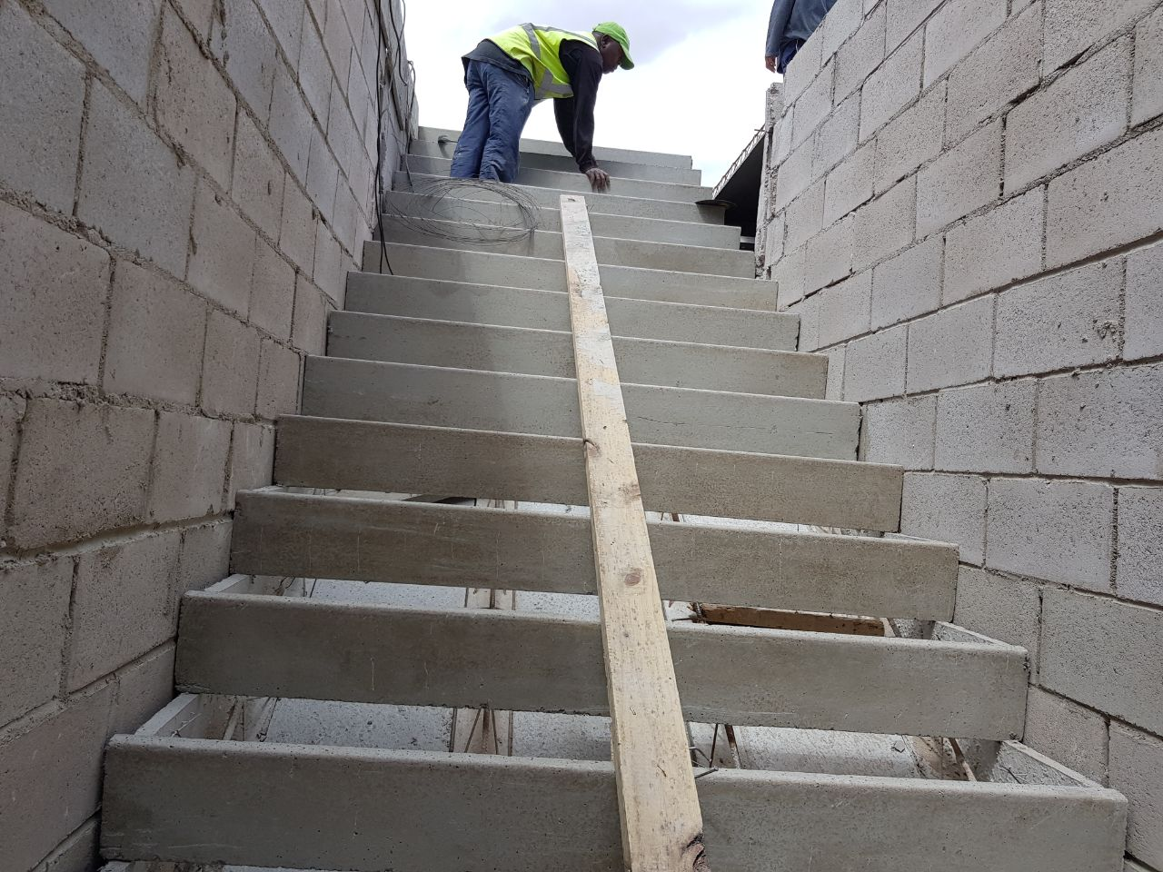 Cobute precast shutters for stairs and risers in position before installation.
