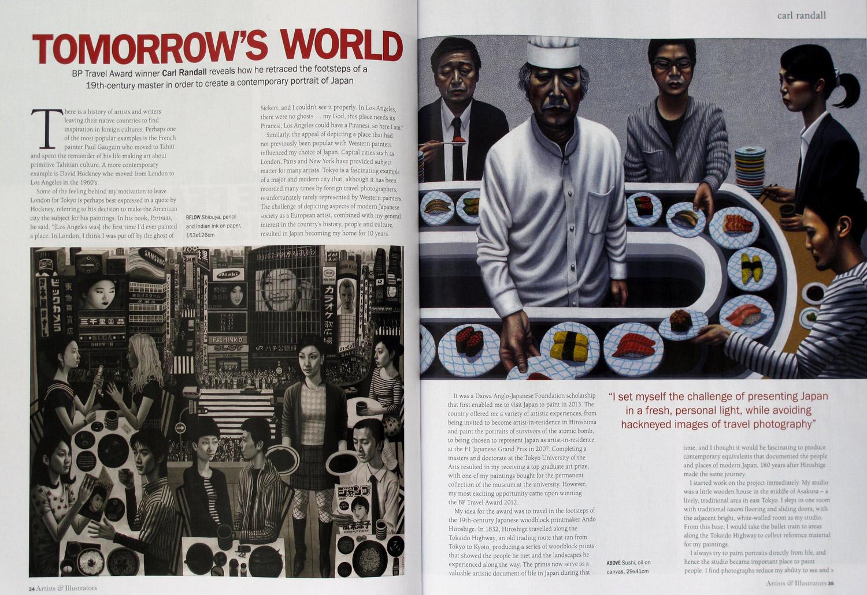 Artists and Illustrators Magazine  - Carl Randall BP Travel Award Japan paintings at The National Portrait Gallery London
