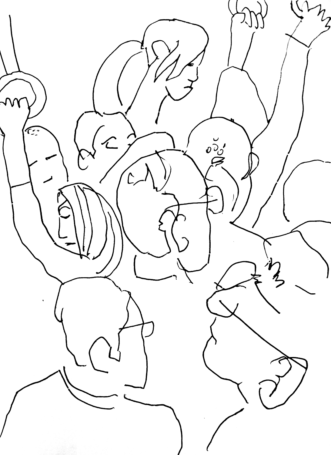 Sketch made on a Tokyo Train (preparatory drawing for 'Tokyo Subway' painting)