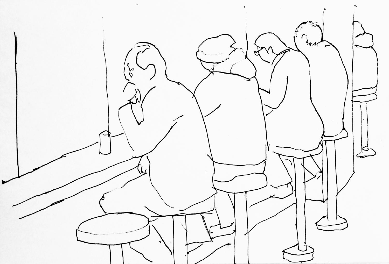 Sketch in a soba restaurant, Tokyo