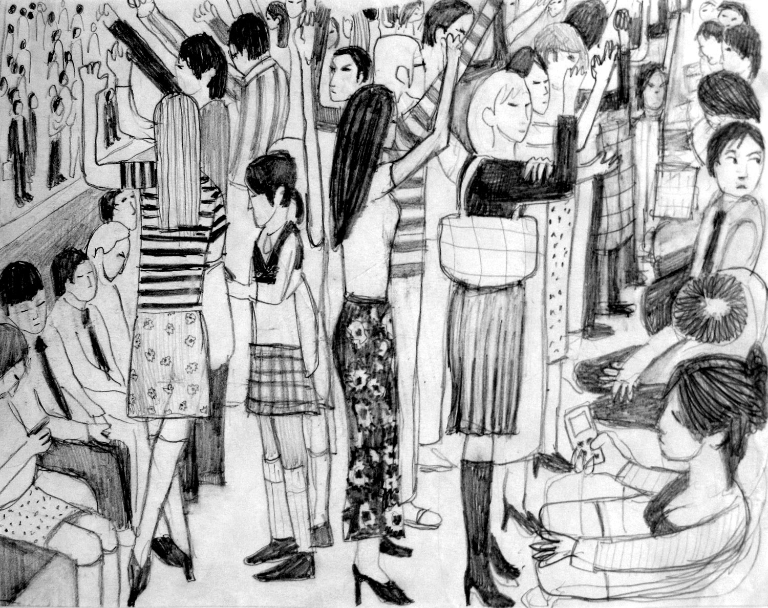 Compositional sketch for 'Tokyo Subway' painting