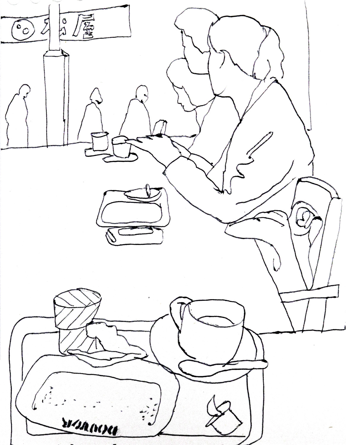 Sketch in a Doutor coffee shop, Tokyo