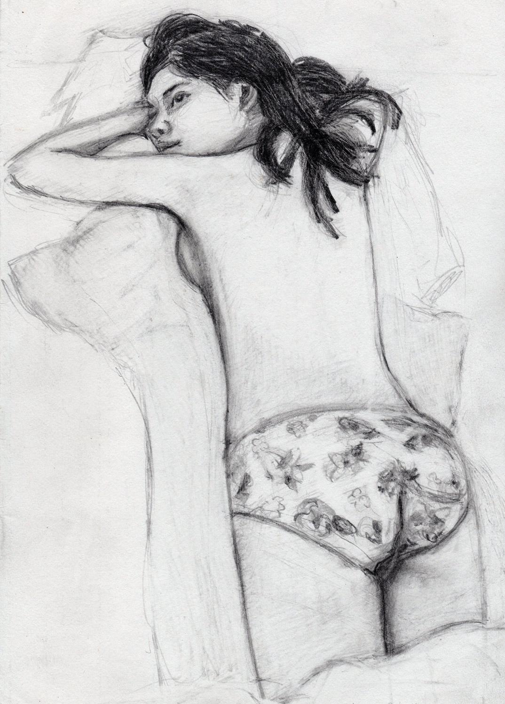 Girl in flowery underwear