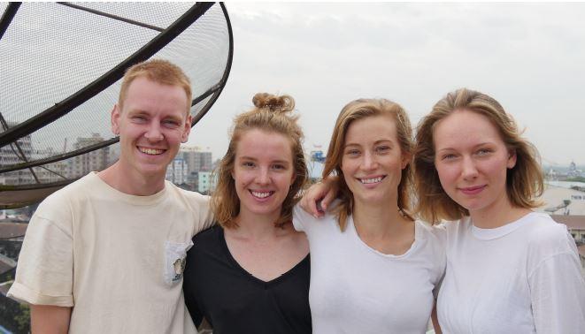 Axel Klint, Moa Hammer, Lina Hansson och Siri Pårup praktiserade på Röda korset i Myanmar.