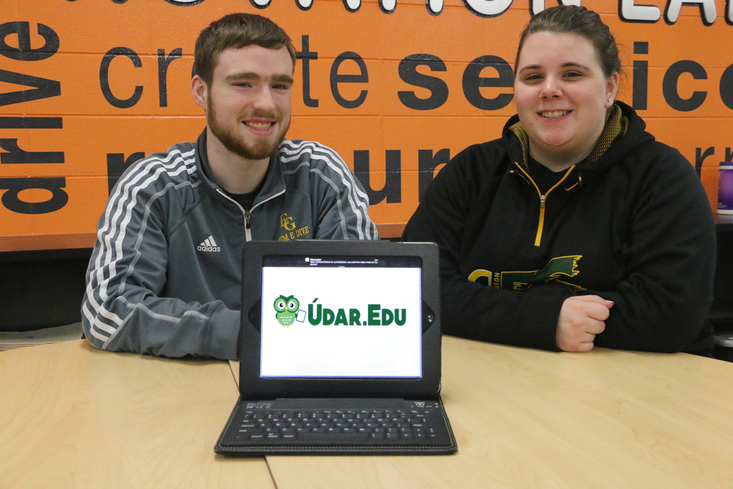 Elk Grove High School seniors Sean Duffy and Wendy Rosenquist and their app, Údar.