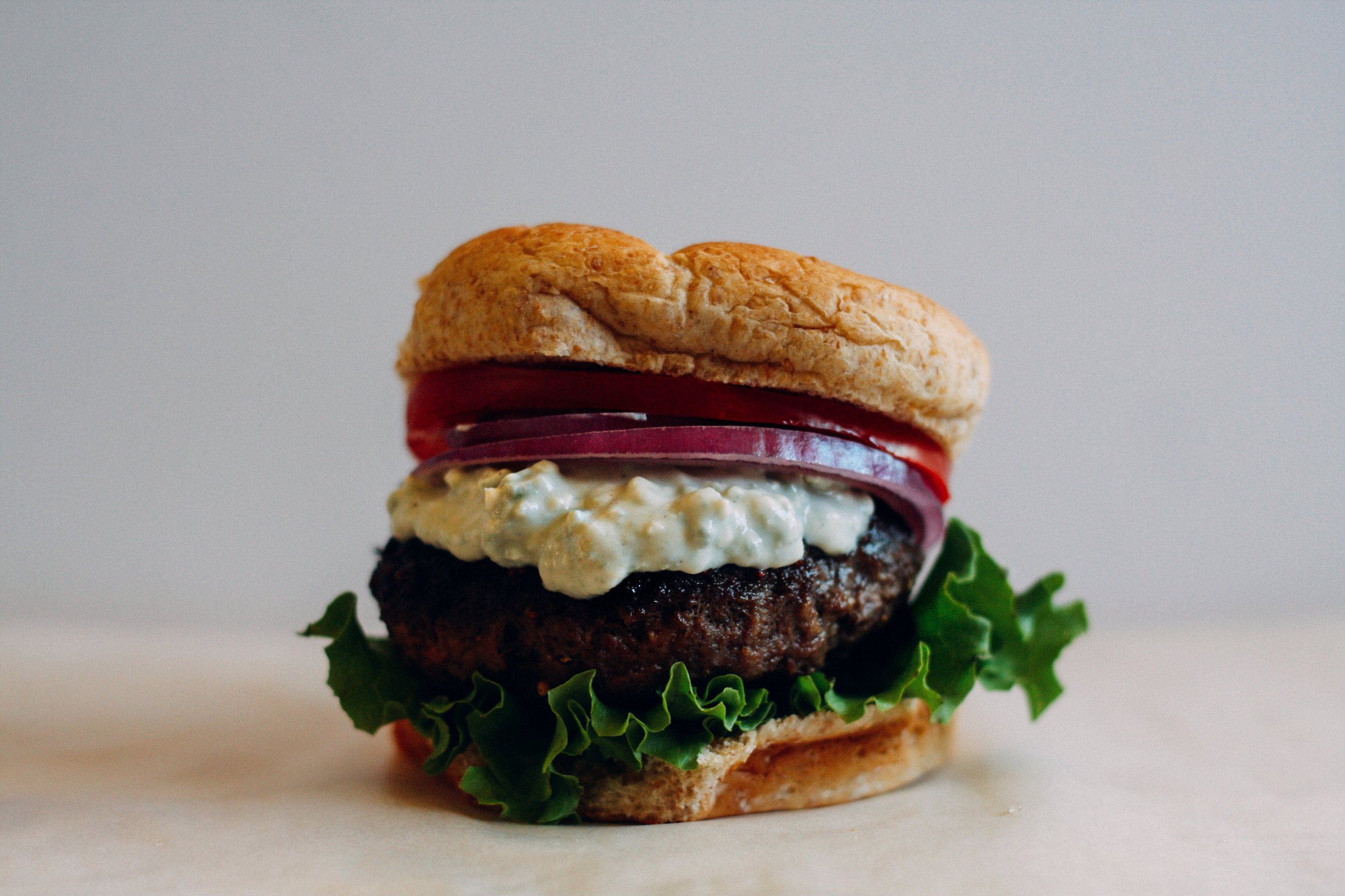 Aunt Millie's Blue Cheese Topped Burger