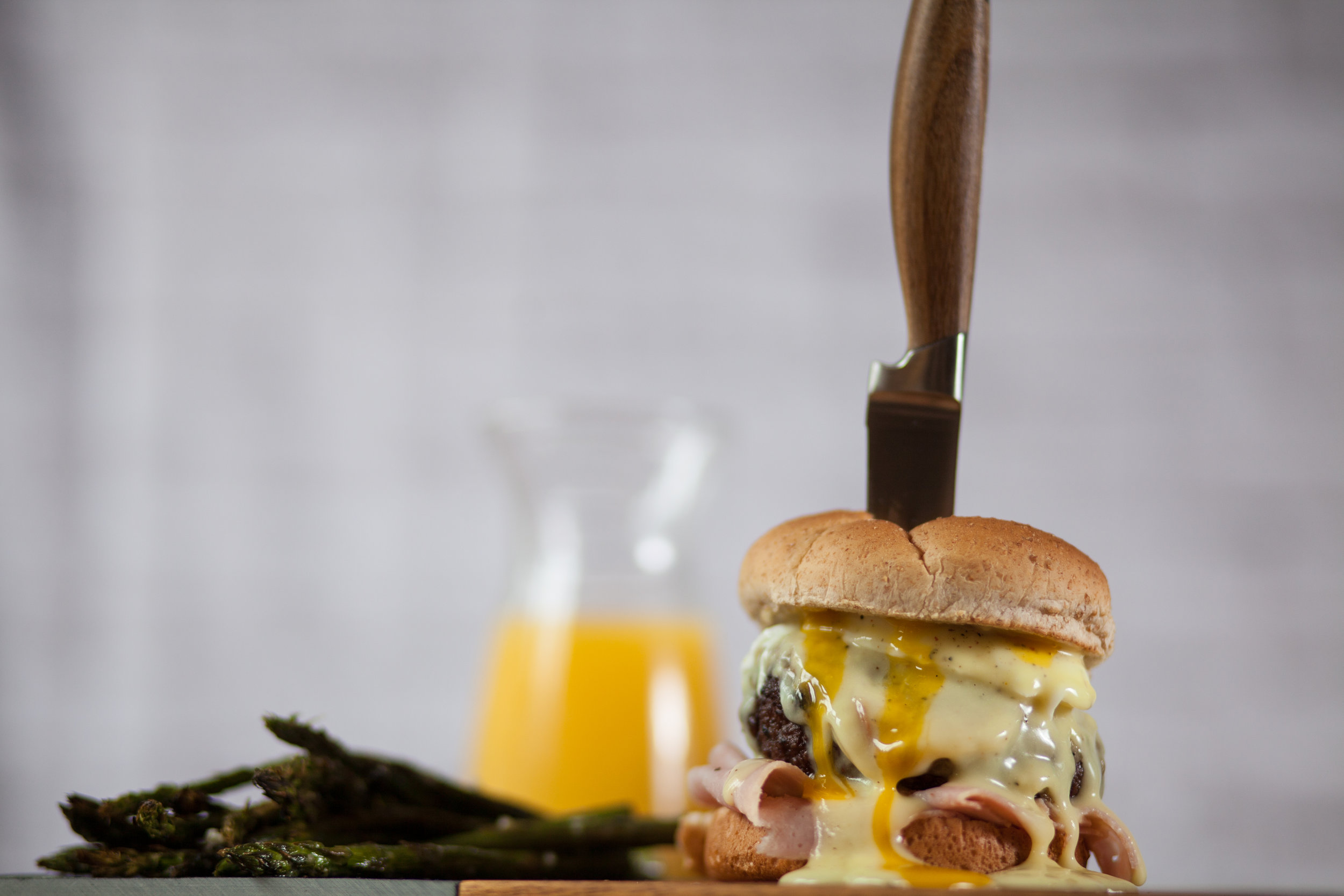 Benedict Burgers - You may think that a Benedict burger isn't a great name considering it's Memorial Day, but once you get a taste of the Swiss cheese and creamy Hollandaise sauce you'll forget all about that.