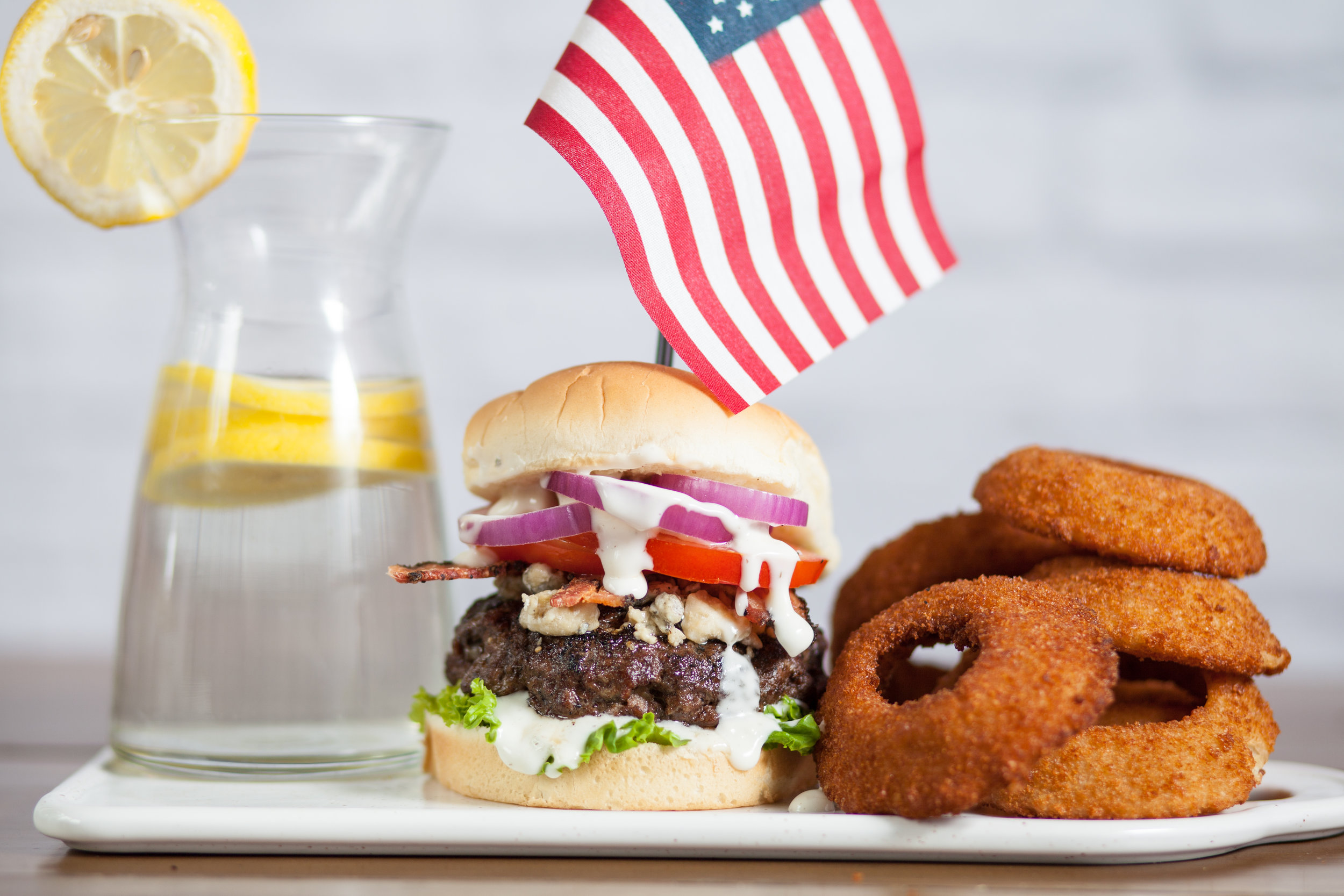 Aunt Millie's Red, White, and Bleu Burger