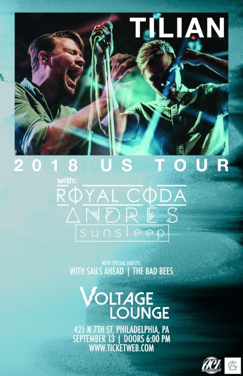Flyer for Tilian Pearson at Voltage Lounge in Philadelphia, PA on September 13th with Royal Coda, Andres, Sunsleep, With Sails Ahead and The Bad Bees