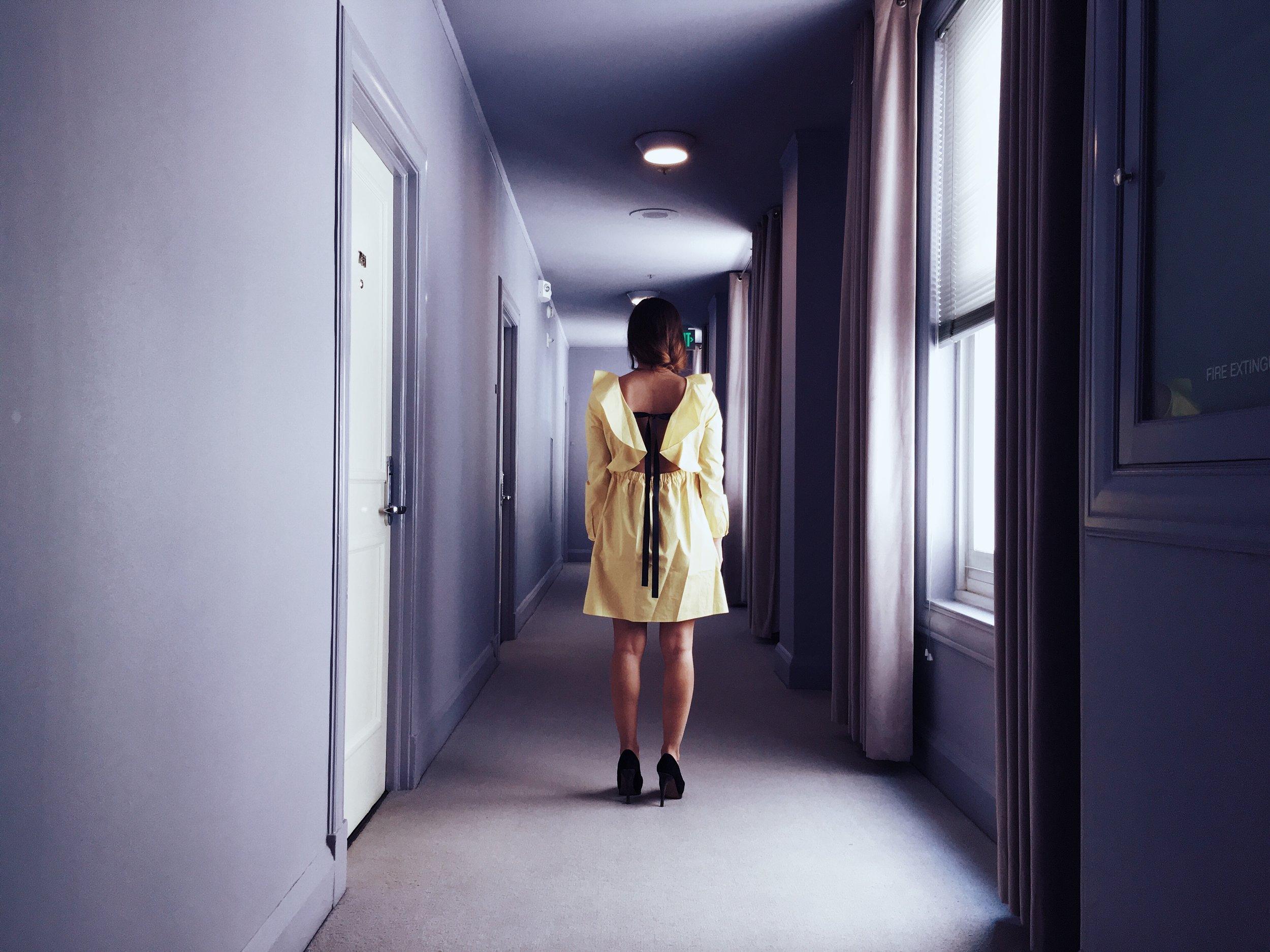The  Clift Hotel  corridors. Wearing a  Zara  dress.