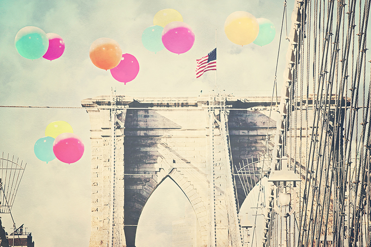 Ashley David,   Bright Balloons Over the Bridge