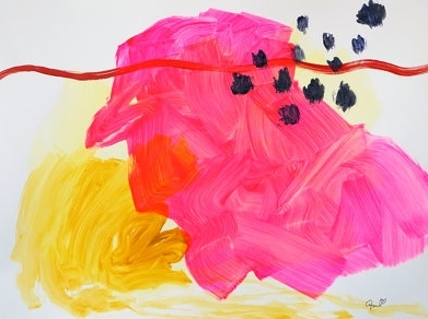 April Nicole Art, Fluorescent Pink & Yellow