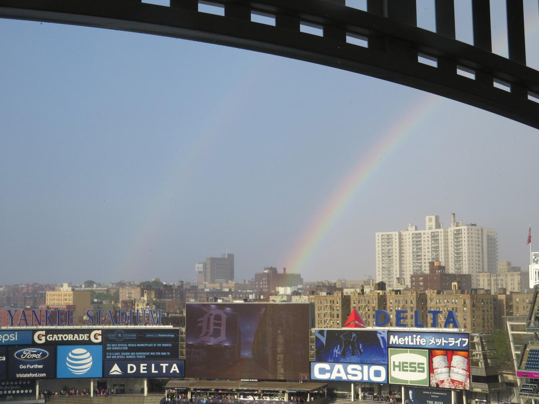 A rainbow over Yankee Stadium on June 11.